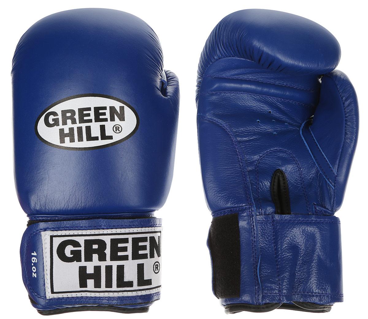 Перчатки боксерские Green Hill Tiger, цвет: синий, белый. Вес 16 унций. BGT-2010сBGT-2010сБоевые боксерские перчатки Green Hill Tiger применяются как для соревнований, так и для тренировок. Верх выполнен из натуральной кожи, вкладыш - предварительно сформированный пенополиуретан. Манжет на липучке способствует быстрому и удобному надеванию перчаток, плотно фиксирует перчатки на руке. Отверстия в области ладони позволяют создать максимально комфортный терморежим во время занятий. В перчатках применяется технология антинокаут.