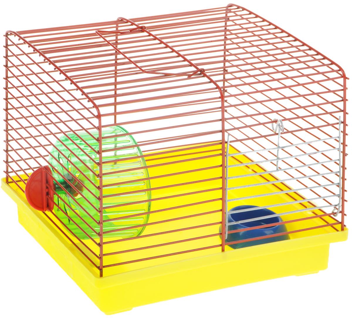 Клетка для джунгариков ЗооМарк, с колесом и миской, цвет: желтый поддон, красная решетка, 23 х 18 х 19 см511ЖККлетка ЗооМарк, выполненная из пластика и металла, подходит для мелких грызунов. Изделие оборудовано колесом для подвижных игр и пластиковой миской. Клетка имеет яркий поддон, удобна в использовании и легко чистится. Сверху имеется ручка для переноски. Такая клетка станет личным пространством и уютным домиком для маленького грызуна. Комплектация: - клетка с поддоном; - миска; - колесо.