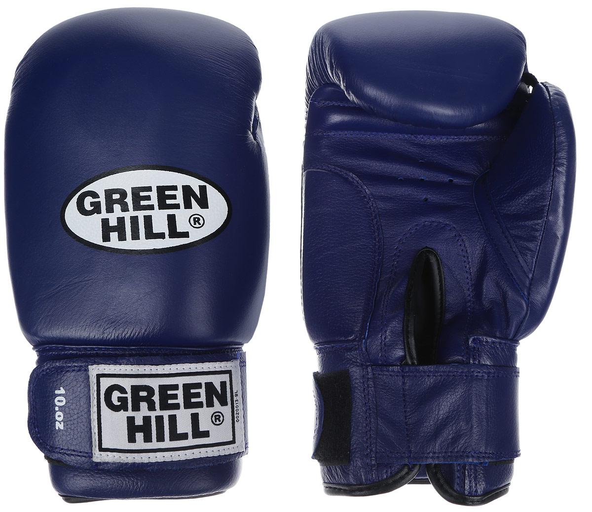 Перчатки боксерские Green Hill Super Star, цвет: синий, белый. Вес 10 унций. BGS-1213сAP02013Боксерские перчатки Green Hill Super Star предназначены для использования профессионалами. Подойдут для спаррингов и соревнований. Верх выполнен из натуральной кожи, наполнитель - из вспененного полимера. Отверстие в области ладони позволяет создать максимально комфортный терморежим во время занятий. Манжет на липучке способствует быстрому и удобному надеванию перчаток, плотно фиксирует перчатки на руке.