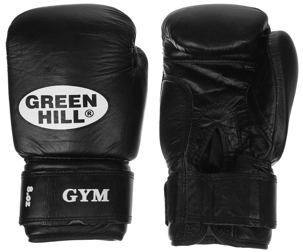 """Перчатки боксерские Green Hill """"Gym"""", цвет: черный, белый. Вес 8 унций BGG-2018"""
