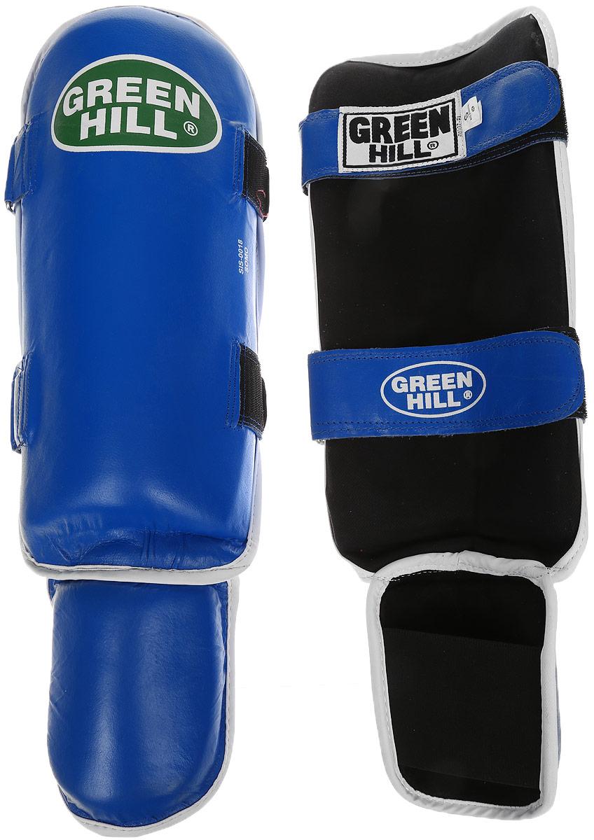 Защита голени и стопы Green Hill Somo, цвет: синий, белый. Размер S. SIS-0018AP202004Защита голени и стопы Green Hill Somo с защитной подушкой, выполненной из полипропилена, необходима при занятиях спортом для защиты пальцев и суставов от вывихов, ушибов и прочих повреждений. Накладки выполнены из высококачественной натуральной кожи. Они прочно фиксируются за счет лент и липучек.Длина голени: 34 см.Ширина голени: 16,5 см.Длина стопы: 12 см.Ширина стопы: 11,5 см.
