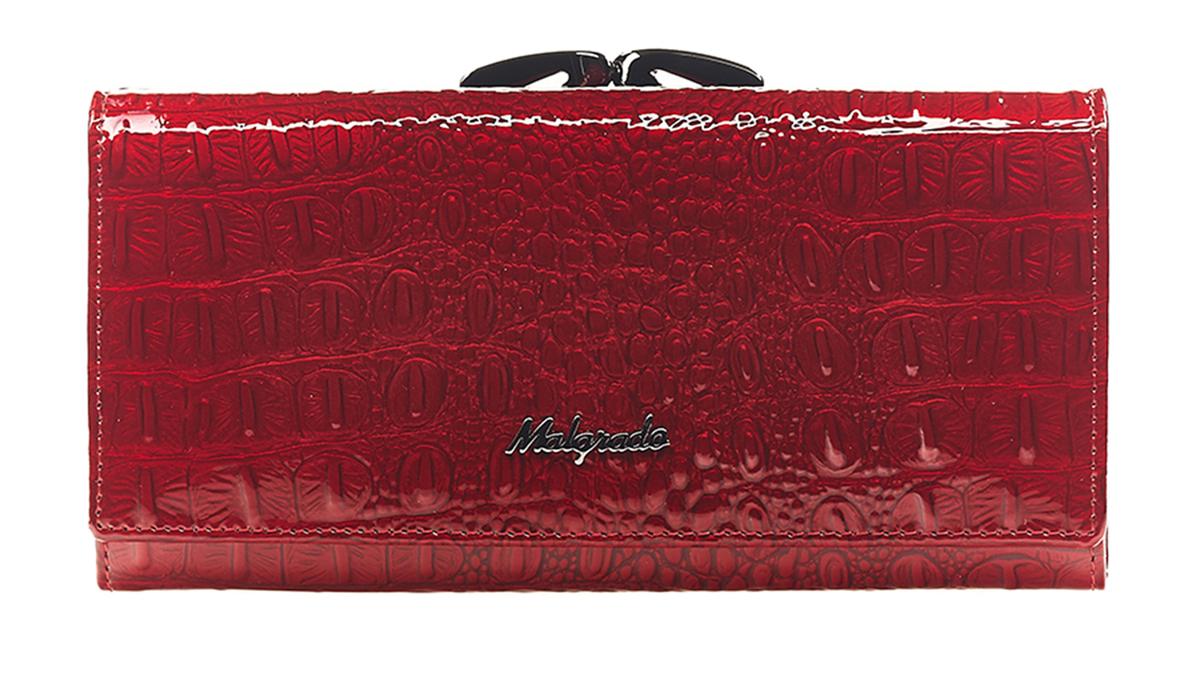Кошелек женский Malgrado, цвет: красный. 72031-0170172031-01701Стильный кошелек Malgrado выполнен из натуральной кожи, застегивается клапаном на кнопку. Внутри содержит девять кармашков для кредитных карт, три отделения для купюр, один кармашек на застежке-молнии. На задней стороне кошелек имеет 2 отделения для мелочи, закрывающиеся металлическим рамочным замком типа ридикюль. Кошелек упакован в подарочную металлическую коробку с логотипом фирмы. Такой кошелек станет замечательным подарком человеку, ценящему качественные и практичные вещи.