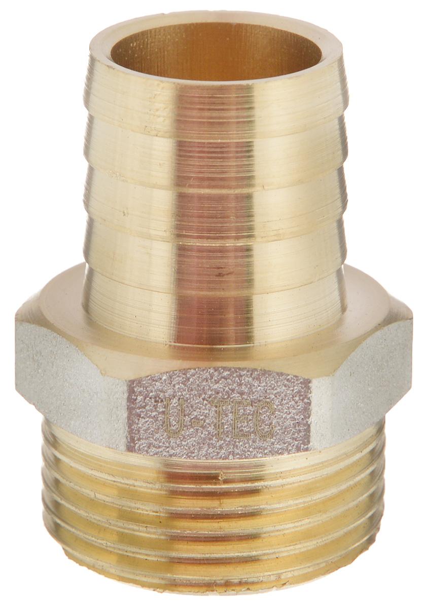 Переходник U-Tec, для резинового шланга, наружная резьба 3/4 х 20 мм38453Переходник U-Tec предназначен для соединения резьбовых соединений с резиновым шлангом. Изделие изготовлено из прочной и долговечной латуни. Никелированное покрытие на внешнем корпусе защищает изделие от окисления. Продукция под торговой маркой U-Tec прошла все необходимые испытания и по праву может считаться надежной. Размер ключа: 27 мм.