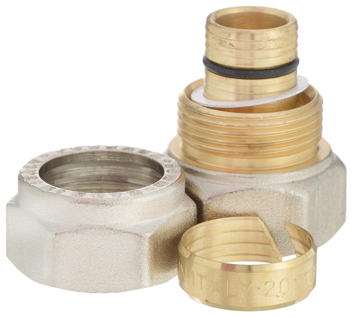 Соединитель Fornara, ц - г, 20 x 3/4655.01Соединитель Fornara предназначен для соединения металлопластиковых труб с помощью разводного ключа. Соединение получается разъемным, что позволяет при необходимости заменять уплотнительные кольца, а также производить обслуживание участка трубопровода.