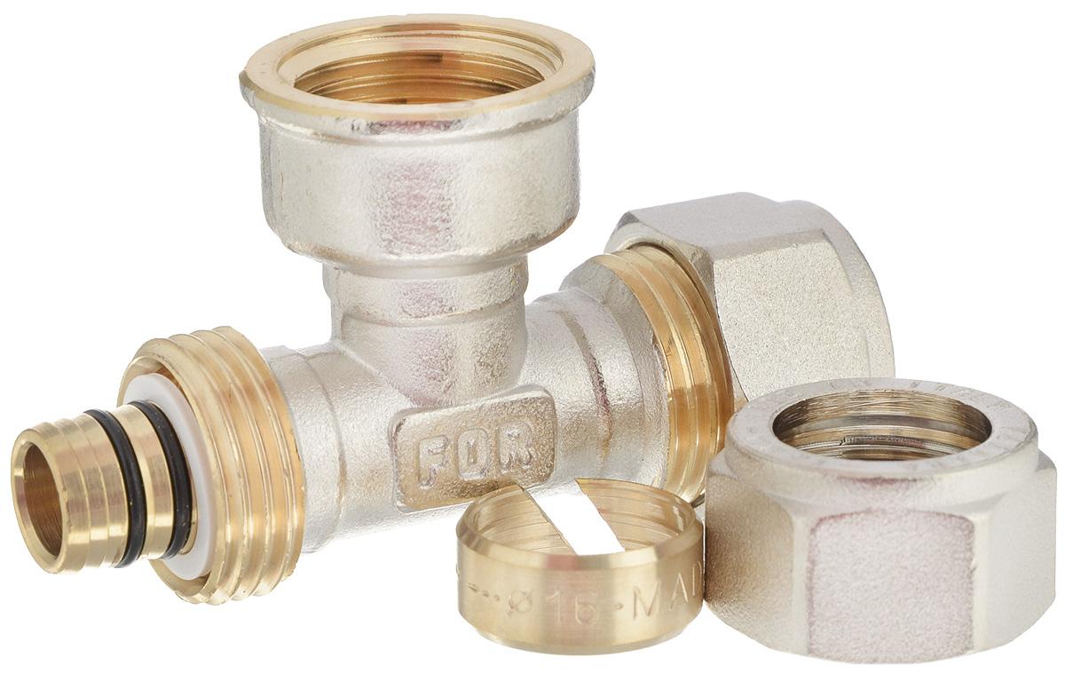 Тройник Fornara, ц - г- ц, 16 x 1/2 x 16С2001616IADТройник Fornara - это фитинг для металлопластиковых труб систем отопления, водоснабжения, технологических установок. Предназначен для соединения металлополимерных труб на основе обычного, сшитого или термоустойчивого полиэтилена и может применяться в инженерных и технологических системах с рабочей температурой до 115 °С.