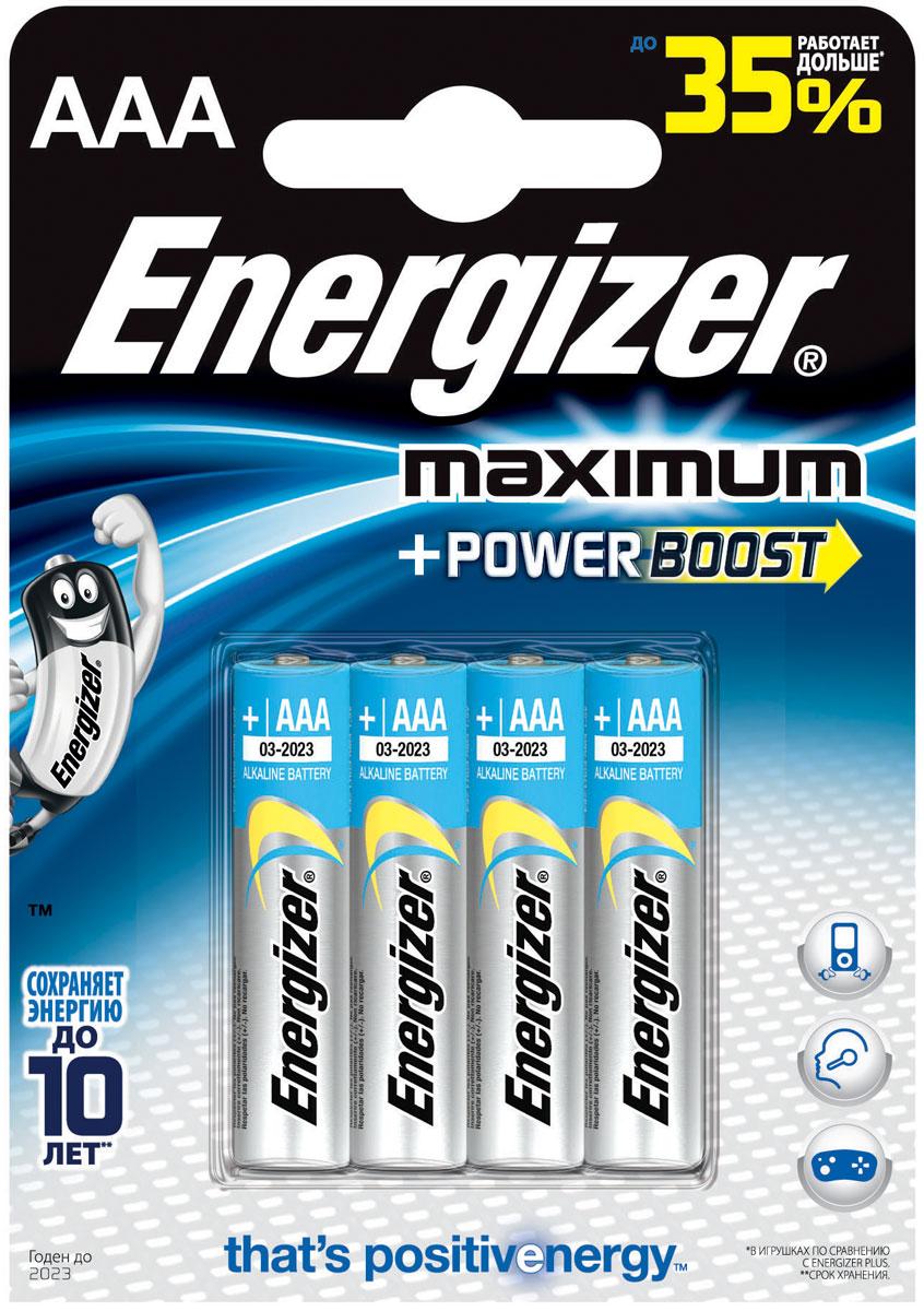 Батарейка алкалиновая Energizer Maximum, тип ААА, 4 шт638398/635276/636179/629757Батарейки Energizer Maximum с технологией PowerBoost - самые долговечные батарейки в семействе щелочных батареек Energizer. Они работают до 35% дольше, чем стандартные щелочные батарейки типоразмера АAA, идеальны для часто используемых устройств. Батарейки Energizer Maximum с технологией PowerBoost сохраняют заряд до 10 лет. Тип элемента питания: алкалиновая. Уважаемые клиенты! Обращаем ваше внимание на возможные изменения в дизайне упаковки. Качественные характеристики товара остаются неизменными. Поставка осуществляется в зависимости от наличия на складе.