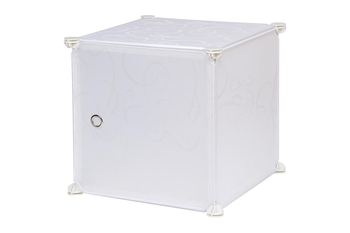 Полка складная EL Casa, для модульной системы хранения, цвет: белый, 37 х 39 х 39 см. 370669370669Складная модульная полка EL Casa представляет собой сборный металлический каркас, на который натянуты панели из полипропилена. Дверца снабжена магнитом, ручка выполнена в виде металлического кольца. Модульная полка предназначена для хранения одежды, игрушек и мелочей. Она легкая, вместительная, быстро собирается, не занимает много места, комбинируется с другими полками модульных систем El Casa. Компактная полка станет незаменимой дома или на даче, однотонная расцветка позволит ей вписаться в любой интерьер.