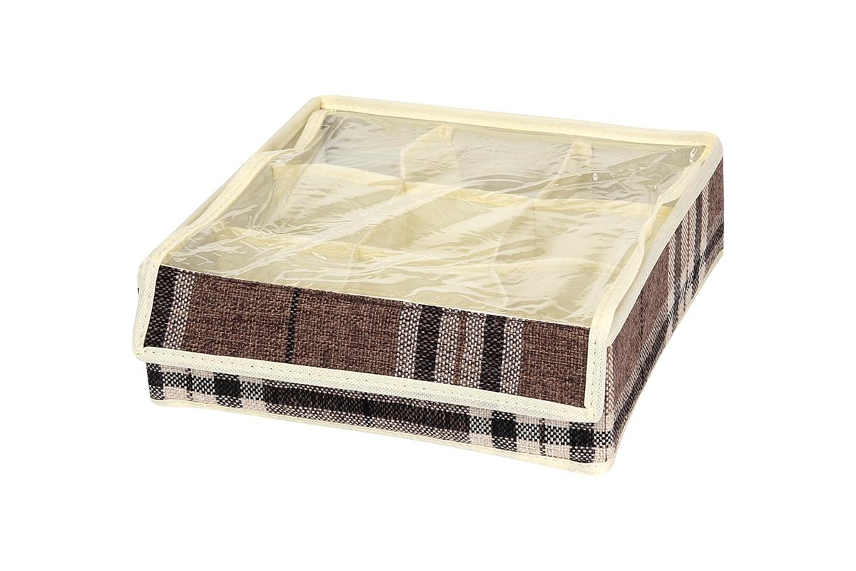 Кофр для хранения EL Casa Клетка, 9 секций, 26 х 26 х 9 см840121Кофр для хранения вещей EL Casa Клетка изготовлен из льна, который обеспечивает естественную вентиляцию, пропускает воздух и задерживает пыль. Вставки из плотного картона хорошо держат форму. Естественность, экологичность, красота фактуры - те свойства, которые делают лен излюбленным материалом дизайнеров. Изделие декорировано рисунком в клетку, благодаря чему впишется в интерьер любого стиля, от богемного бохо до сдержанного скандинавского. Кофр оснащен 9 секциями для хранения нижнего белья, колготок, носков и другой одежды. Прозрачная крышка из ПВХ, закрывающаяся на липучку, позволяет видеть содержимое кофра, не открывая его. Кофр удобно складывается и раскладывается. В сложенном виде изделие занимает минимум места, его легко хранить и перевозить. Такой кофр поможет хранить вещи компактно и удобно. Подходит для размещения в шкафу, комоде.