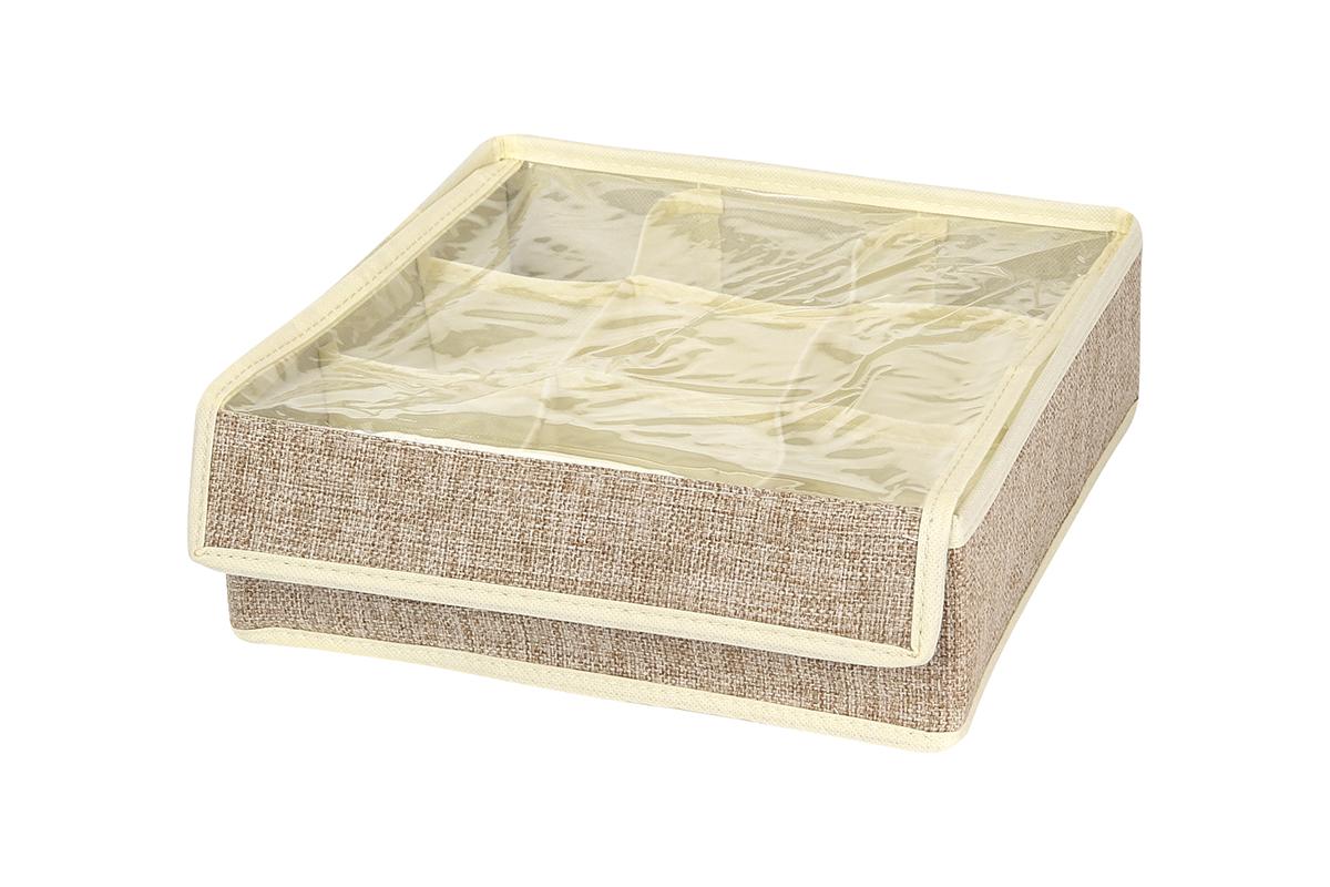 Кофр для хранения EL Casa, цвет: светло-бежевый, 9 секций, 26 х 26 х 9 см19201Кофр для хранения вещей EL Casa изготовлен из льна, который обеспечивает естественную вентиляцию, пропускает воздух и задерживает пыль. Изделие имеет жесткую конструкцию благодаря вставкам из плотного картона. Кофр специально предназначен для защиты вашей одежды от воздействия негативных внешних факторов: влаги и сырости, моли, выгорания, грязи.Кофр с 9 секциями подходит для хранения нижнего белья, колготок, носков и другой одежды. Он удобно складывается и раскладывается. В сложенном виде изделие занимает минимум места, его легко хранить и перевозить. Прозрачная крышка на липучке, выполненная из ПВХ, позволяет видеть содержимое кофра, не открывая его. Изделие поможет хранить вещи компактно и удобно. Подходит для размещения в шкафу, комоде.