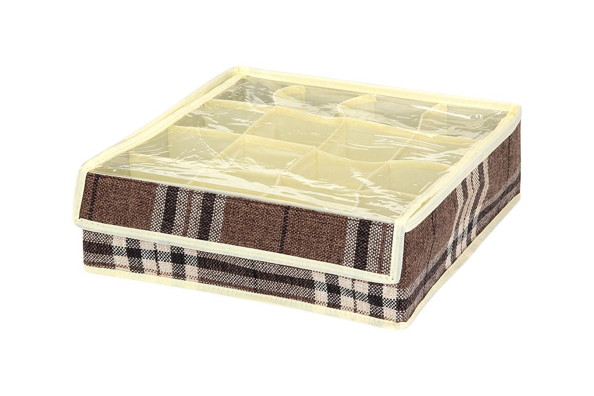 Кофр для хранения EL Casa Клетка, 16 секций, 32 х 32 х 10 см840139Кофр для хранения вещей EL Casa Клетка изготовлен из льна, который обеспечивает естественную вентиляцию, пропускает воздух и задерживает пыль. Вставки из плотного картона хорошо держат форму. Естественность, экологичность, красота фактуры - те свойства, которые делают лен излюбленным материалом дизайнеров. Изделие декорировано рисунком в клетку, благодаря чему впишется в интерьер любого стиля, от богемного бохо до сдержанного скандинавского. Кофр оснащен 16 секциями для хранения нижнего белья, колготок, носков и другой одежды. Прозрачная крышка из ПВХ, закрывающаяся на липучку, позволяет видеть содержимое кофра, не открывая его. Кофр удобно складывается и раскладывается. В сложенном виде изделие занимает минимум места, его легко хранить и перевозить. Такой кофр поможет хранить вещи компактно и удобно. Подходит для размещения в шкафу, комоде.
