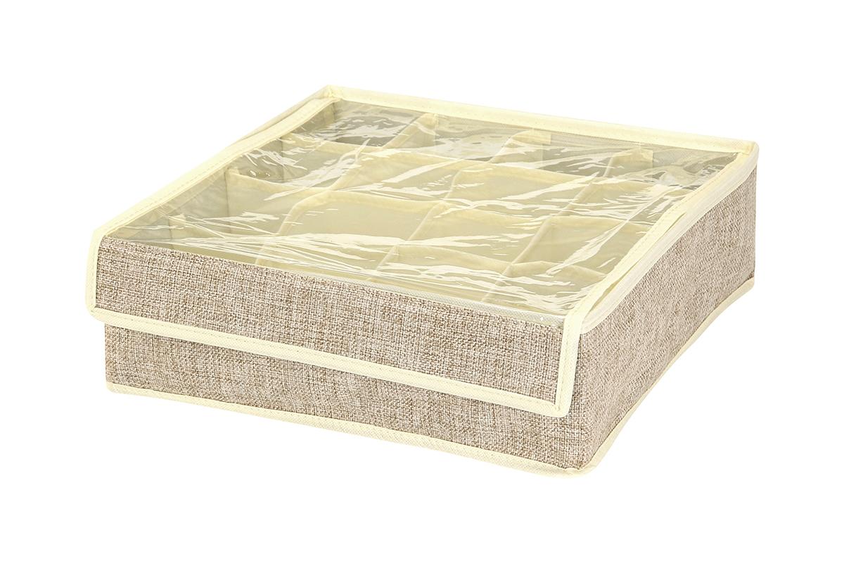 Кофр для хранения EL Casa, цвет: светло-бежевый, 16 секций, 32 х 32 х 10 см840140Кофр для хранения вещей EL Casa изготовлен из льна, который обеспечивает естественную вентиляцию, пропускает воздух и задерживает пыль. Изделие имеет жесткую конструкцию благодаря вставкам из плотного картона. Кофр специально предназначен для защиты вашей одежды от воздействия негативных внешних факторов: влаги и сырости, моли, выгорания, грязи. Кофр с 16 секциями подходит для хранения нижнего белья, колготок, носков и другой одежды. Он удобно складывается и раскладывается. В сложенном виде изделие занимает минимум места, его легко хранить и перевозить. Прозрачная крышка на липучке, выполненная из ПВХ, позволяет видеть содержимое кофра, не открывая его. Изделие поможет хранить вещи компактно и удобно. Подходит для размещения в шкафу, комоде.