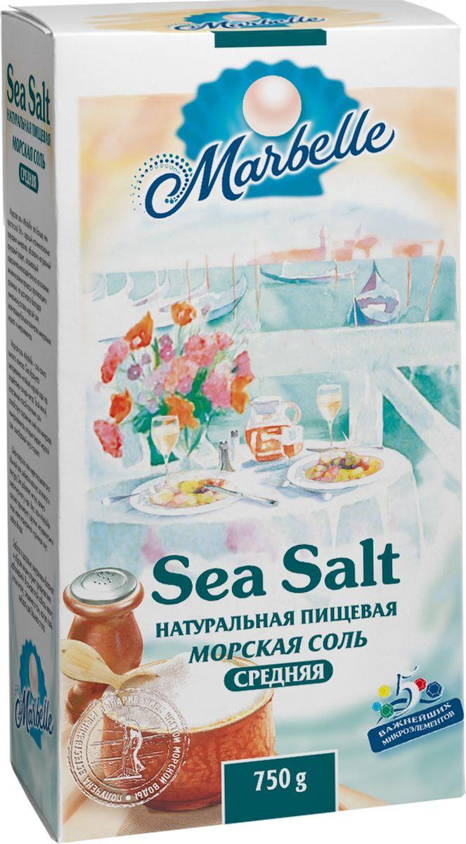 Marbellе морская соль средняя, 750 г4607012291165Натуральная морская соль среднего помола - богатый источник минеральных веществ и полезных микроэлементов, которые оказывают общее оздоровительное воздействие на процессы, протекающие в организме, а также насыщает его важными компонентами.