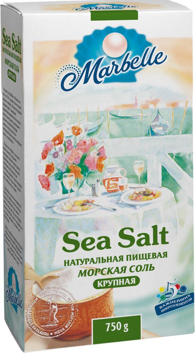 Marbellе морская соль крупная, 750 г4607012291172Натуральная морская соль крупного помола - богатый источник минеральных веществ и полезных микроэлементов, которые оказывают общее оздоровительное воздействие на процессы, протекающие в организме, а также насыщает его важными компонентами.