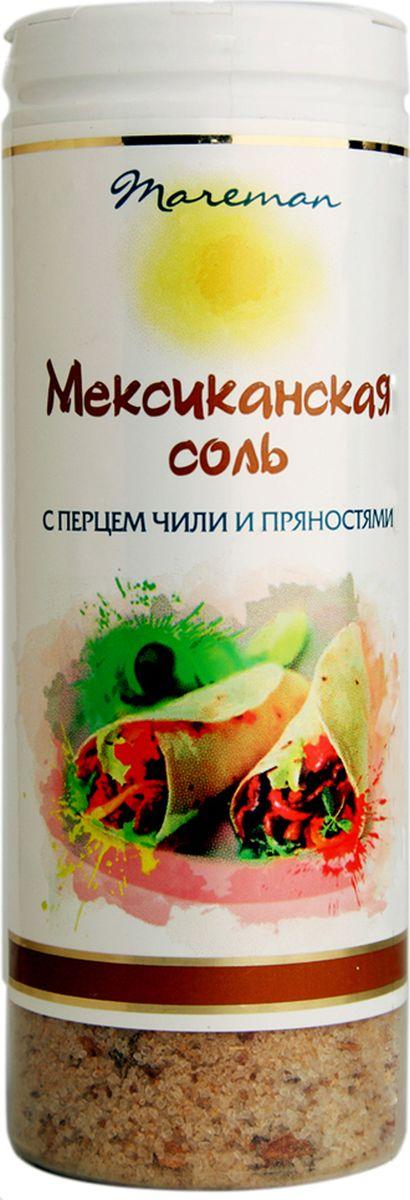 Mareman соль Мексиканская, 140 г4607012294623Ароматная соль премиум качества с классическим для Мексики сочетанием приправ и пряностей. Соль упакована в пластиковые солонки с удобной крышкой-дозатором, легко использовать для пищи во время приготовления и за столом. Морская соль ТМ Mareman Мексиканская придаст потрясающий вкус и наполнит блюда изысканным ароматом.