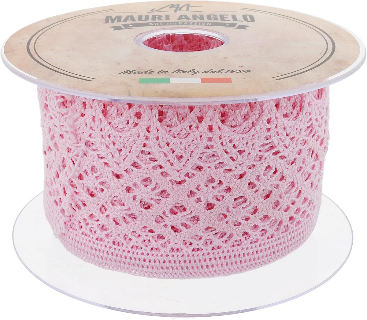 Лента кружевная Mauri Angelo, цвет: розовый, 5,9 см х 10 мMR4133/015_розовыйДекоративная кружевная лента Mauri Angelo - текстильное изделие без тканой основы, в котором ажурный орнамент и изображения образуются в результате переплетения нитей. Кружево применяется для отделки одежды, белья в виде окаймления или вставок, а также в оформлении интерьера, декоративных панно, скатертей, тюлей, покрывал. Главные особенности кружева - воздушность, тонкость, эластичность, узорность. Декоративная кружевная лента Mauri Angelo станет незаменимым элементом в создании рукотворного шедевра. Ширина: 5,9 см. Длина: 10 м.