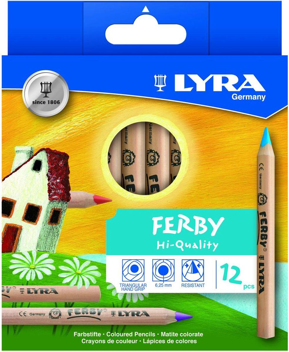 Lyra Набор цветных карандашей Ferby Nature 12 штPP-220Набор Lyra Ferby Nature включает 12 цветных карандашей из натурального нелакированного дерева. Длина карандаша 120 мм, высокопигментный грифель, эргономичная треугольная форма сечения карандаша, 6,25 мм диаметр грифеля.