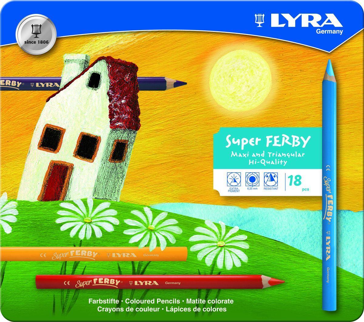 Lyra Набор цветных карандашей Super Ferby 18 штL3721180Набор Lyra Super Ferby включает 18 цветных карандашей. Карандаши имеют эргономичную округло-треугольную форму. Набор включает в себя 12 ярких цветных карандашей. Карандаши изготовлены из натурального сертифицированного дерева, экологически чистые. Имеют ударопрочный неломающийся высокопигментный грифель, не требующий сильного нажатия. Диаметр грифеля 6,25 мм, длина карандаша 175 мм.