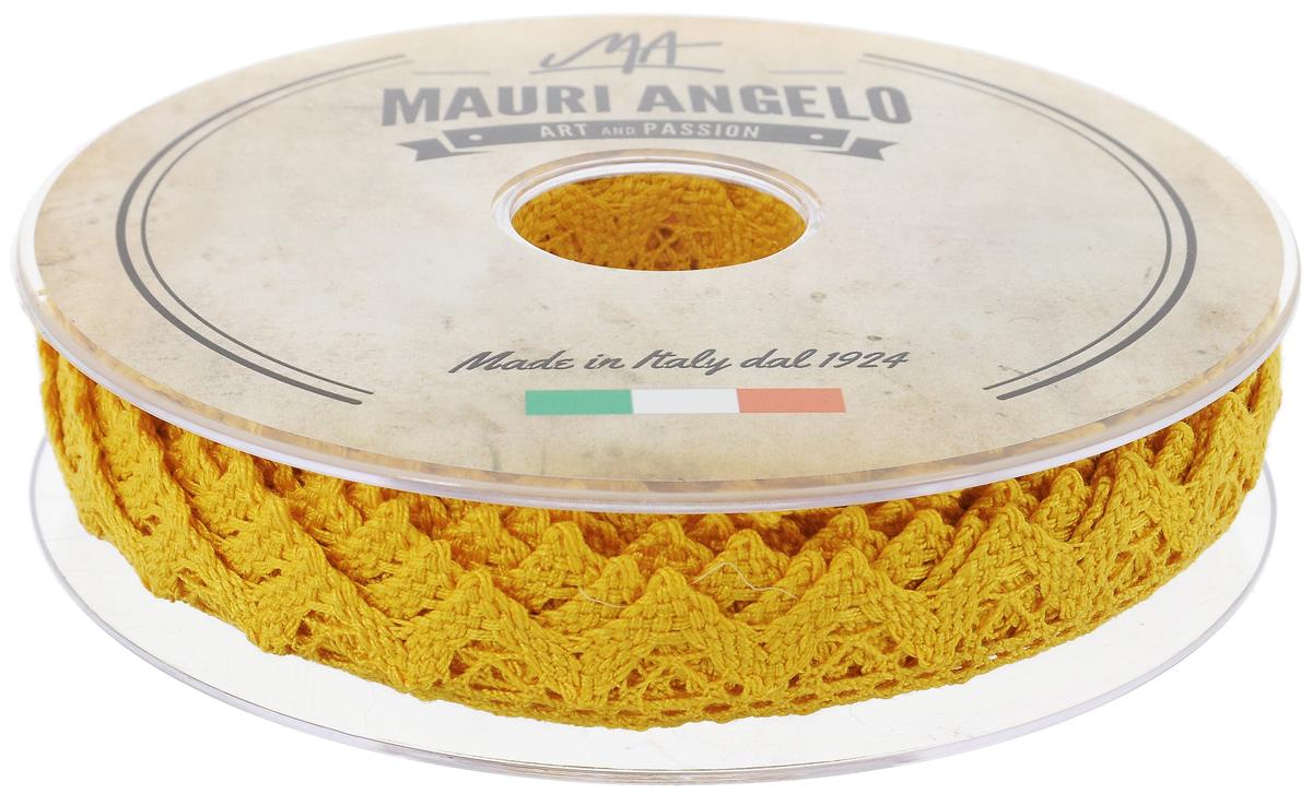 Лента кружевная Mauri Angelo, цвет: желтый, 1,8 см х 20 мMR2710/030_желтыйДекоративная кружевная лента Mauri Angelo - текстильное изделие без тканой основы, в котором ажурный орнамент и изображения образуются в результате переплетения нитей. Кружево применяется для отделки одежды, белья в виде окаймления или вставок, а также в оформлении интерьера, декоративных панно, скатертей, тюлей, покрывал. Главные особенности кружева - воздушность, тонкость, эластичность, узорность. Декоративная кружевная лента Mauri Angelo станет незаменимым элементом в создании рукотворного шедевра. Ширина: 1,8 см. Длина: 20 м.