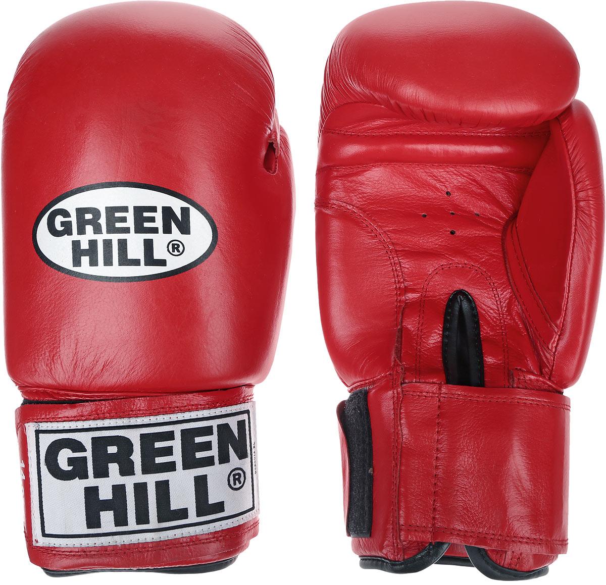 Перчатки боксерские Green Hill Tiger, цвет: красный, белый. Вес 14 унцийBGT-2010сБоевые боксерские перчатки Green Hill Tiger применяются как для соревнований, так и для тренировок. Верх выполнен из натуральной кожи, вкладыш - предварительно сформированный пенополиуретан. Манжет на липучке способствует быстрому и удобному надеванию перчаток, плотно фиксирует перчатки на руке. Отверстия в области ладони позволяют создать максимально комфортный терморежим во время занятий. В перчатках применяется технология антинокаут.