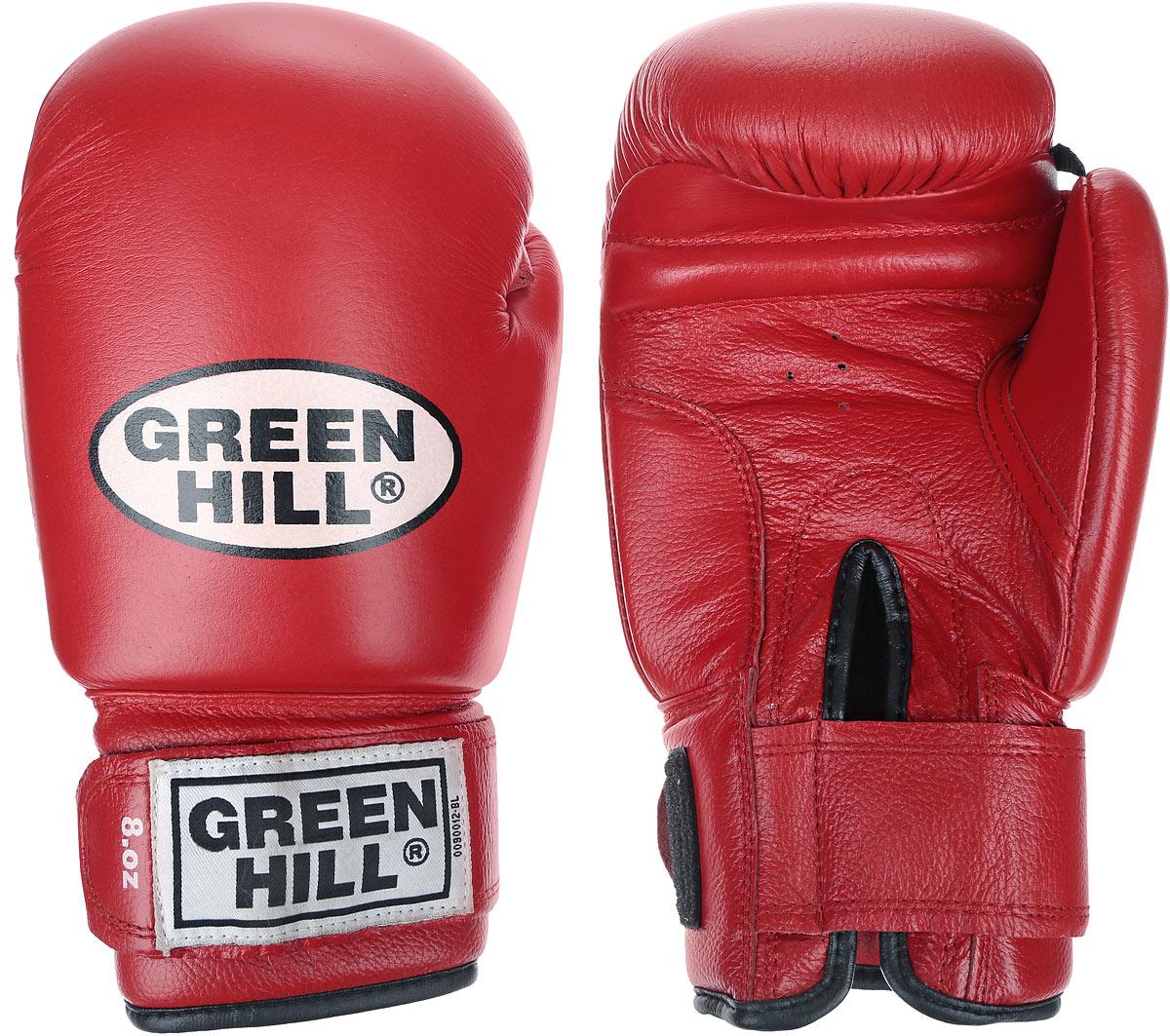 Перчатки боксерские Green Hill Tiger, цвет: красный, белый. Вес 8 унций. BGT-2010сRivaCase 7560 greyБоевые боксерские перчатки Green Hill Tiger применяются как для соревнований, так и для тренировок. Верх выполнен из натуральной кожи, вкладыш - предварительно сформированный пенополиуретан. Манжет на липучке способствует быстрому и удобному надеванию перчаток, плотно фиксирует перчатки на руке. Отверстия в области ладони позволяет создать максимально комфортный терморежим во время занятий.В перчатках применяется технология антинокаут.