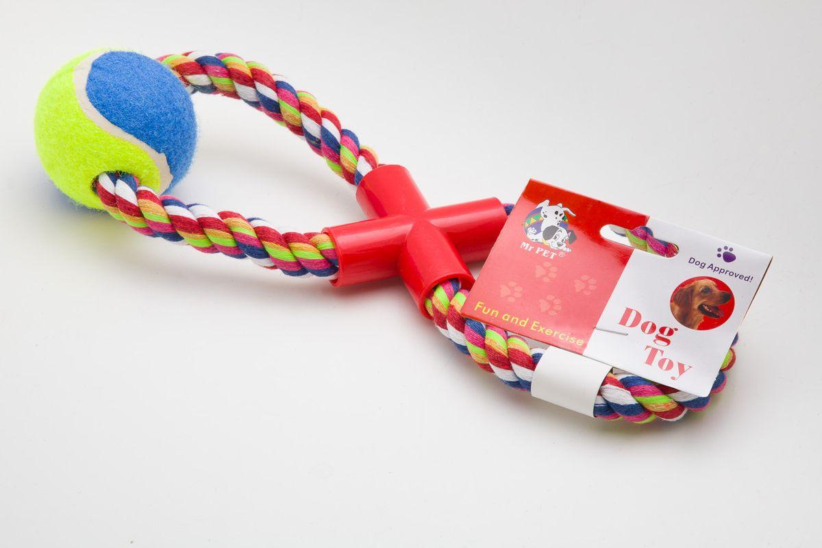 Игрушка канатная MrPet Восьмерка с мячем, цвет: красный, 43 см2101b