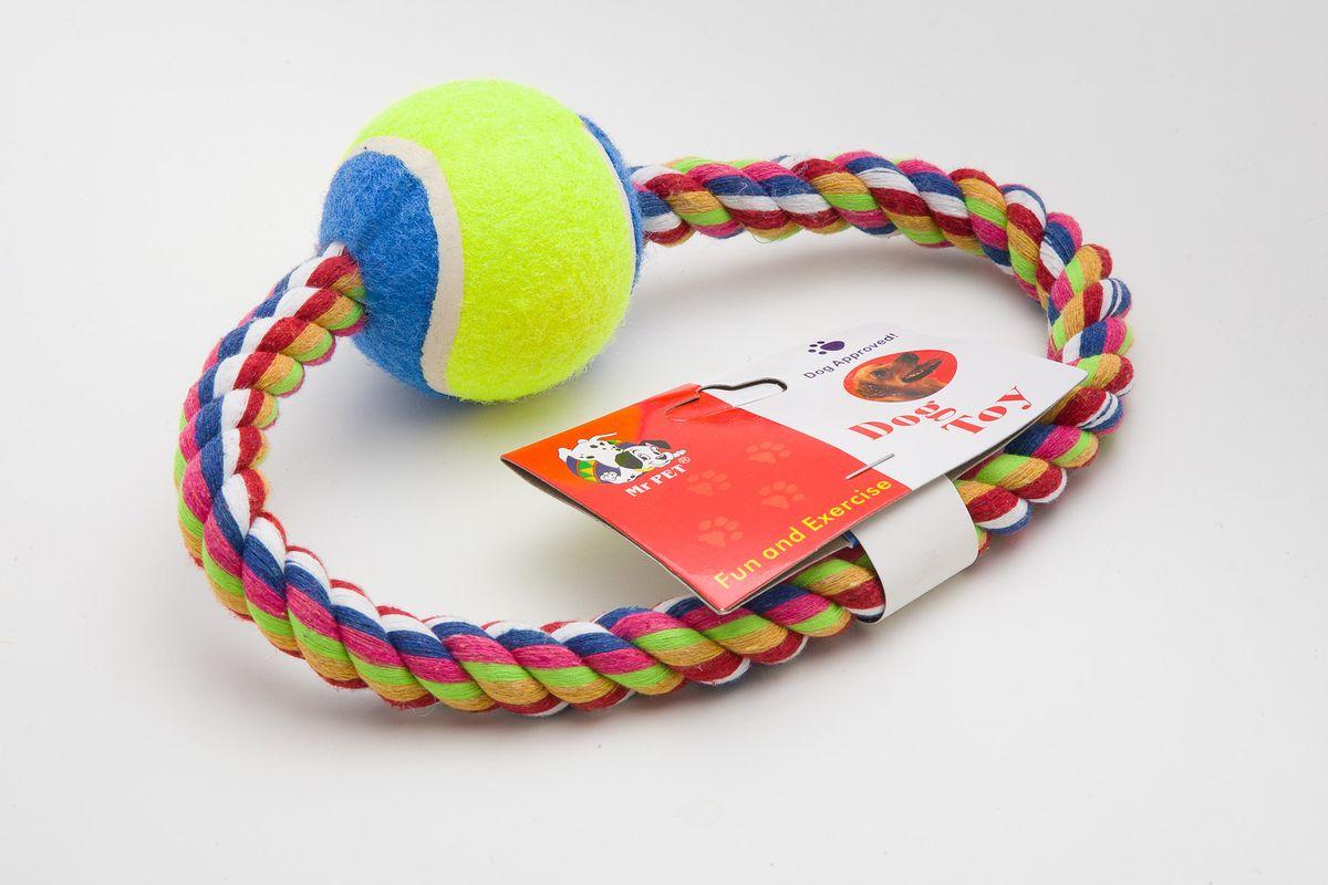 Игрушка канатная MrPet Кольцо с мячем, 15 см2107