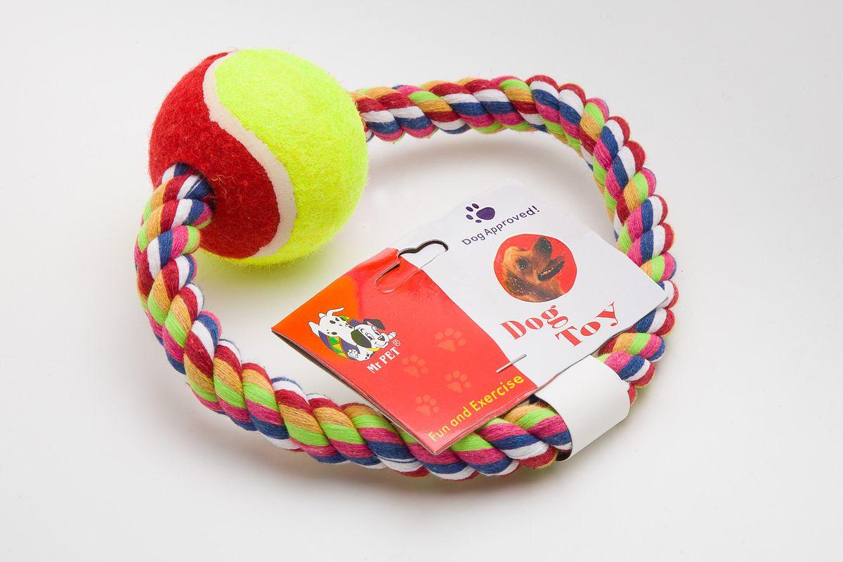 Игрушка канатная MrPet Кольцо с мячем, цвет: желтый, красный, 15 см2107a