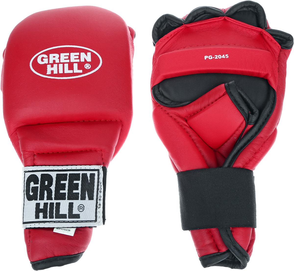 Перчатки для рукопашного боя Green Hill, цвет: красный, черный. Размер L. PG-2045AIRWHEEL Q3-340WH-BLACKПерчатки для рукопашного боя Green Hill произведены из высококачественной искусственной кожи. Подойдут для занятий кунг-фу. Конструкция предусматривает открытые пальцы - необходимый атрибут для проведения захватов. Манжеты на липучках позволяют быстро снимать и надевать перчатки без каких-либо неудобств. Анатомическая посадка предохраняет руки от повреждений.