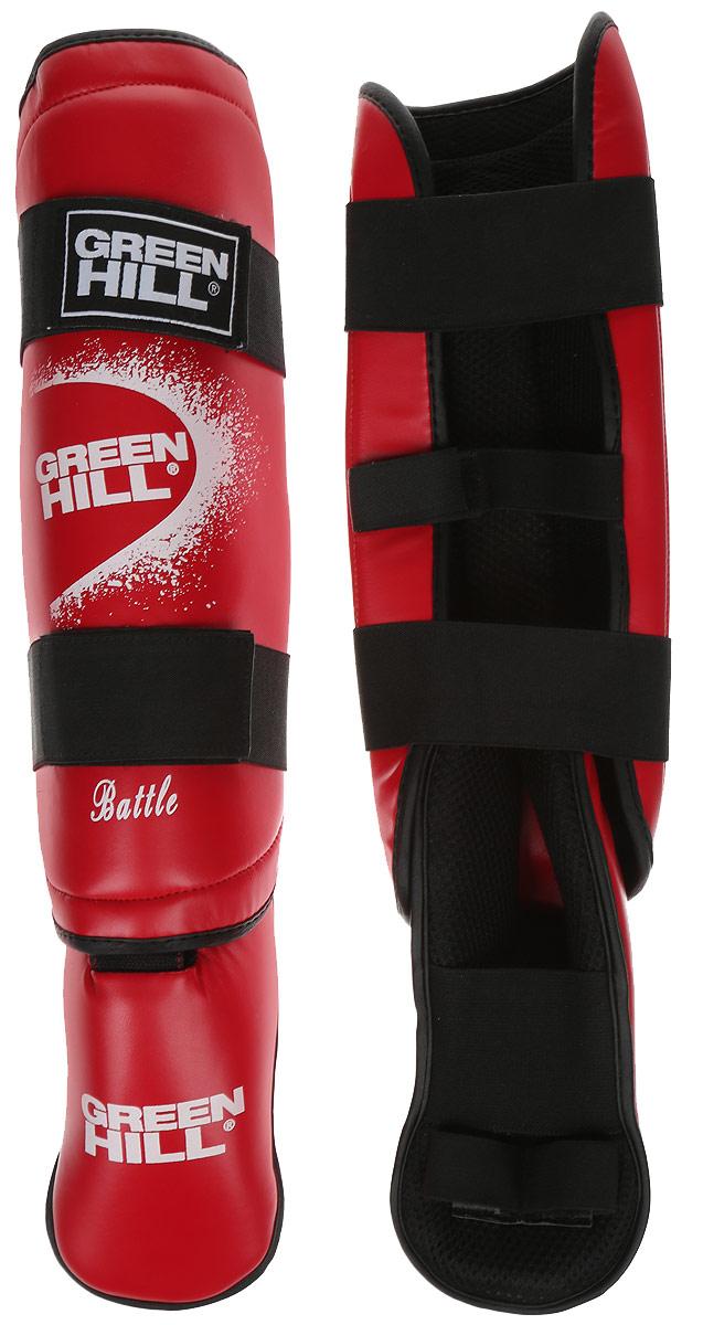 Защита голени и стопы Green Hill Battle, цвет: красный, белый. Размер L. SIB-0014AP02013Защита голени и стопы Green Hill Battle с наполнителем, выполненным из вспененного полимера, необходима при занятиях спортом для защиты пальцев и суставов от вывихов, ушибов и прочих повреждений. Накладки выполнены из высококачественной искусственной кожи. Подкладка изготовлена из хлопка, внутренняя сторона выполнена в виде сетки. Они надежно фиксируются за счет ленты и липучек.При желании защиту голени можно отцепить от защиты стопы.Длина голени: 38 см.Ширина голени: 15 см.Длина стопы: 24 см.Ширина стопы: 13 см.