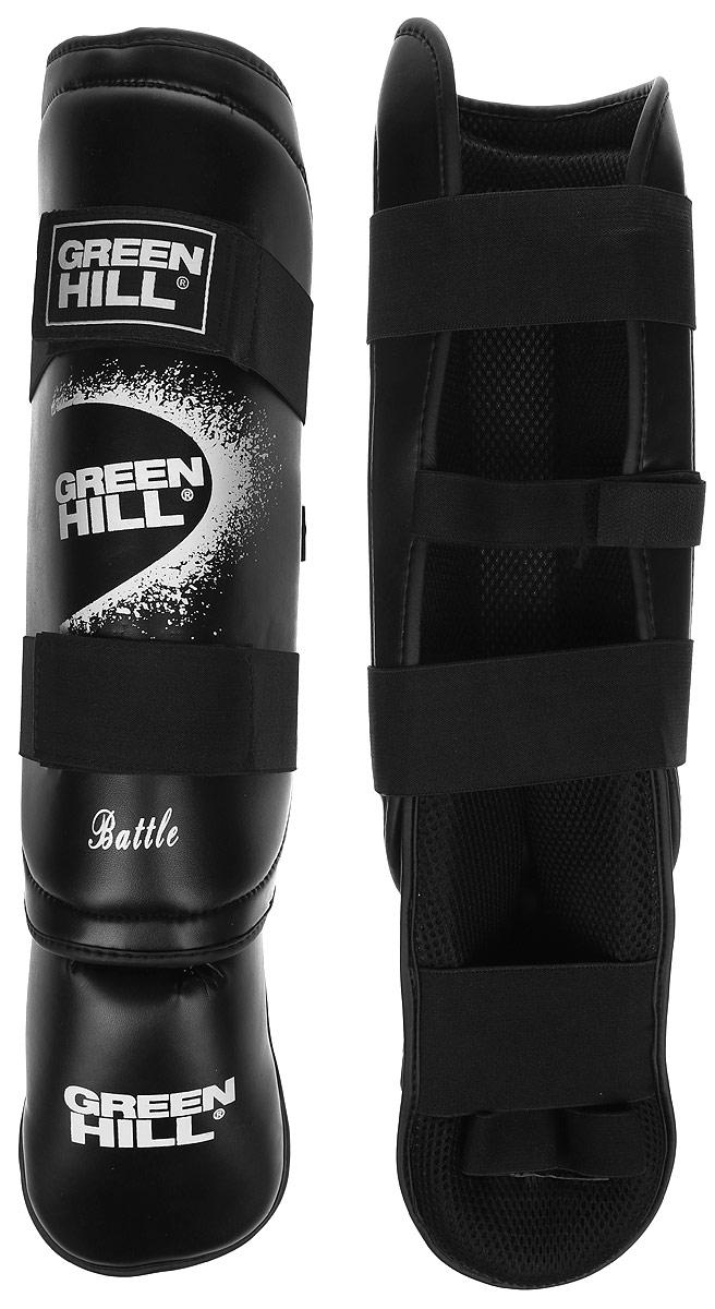 Защита голени и стопы Green Hill Battle, цвет: черный, белый. Размер M. SIB-0014RivaCase 7560 greyЗащита голени и стопы Green Hill Battle с наполнителем, выполненным из вспененного полимера, необходима при занятиях спортом для защиты пальцев и суставов от вывихов, ушибов и прочих повреждений. Накладки выполнены из высококачественной искусственной кожи. Подкладка изготовлена из хлопка, внутренняя сторона выполнена в виде сетки. Они надежно фиксируются за счет ленты и липучек.При желании защиту голени можно отцепить от защиты стопы.Длина голени: 36 см.Ширина голени: 12,5 см.Длина стопы: 24 см.Ширина стопы: 10 см.