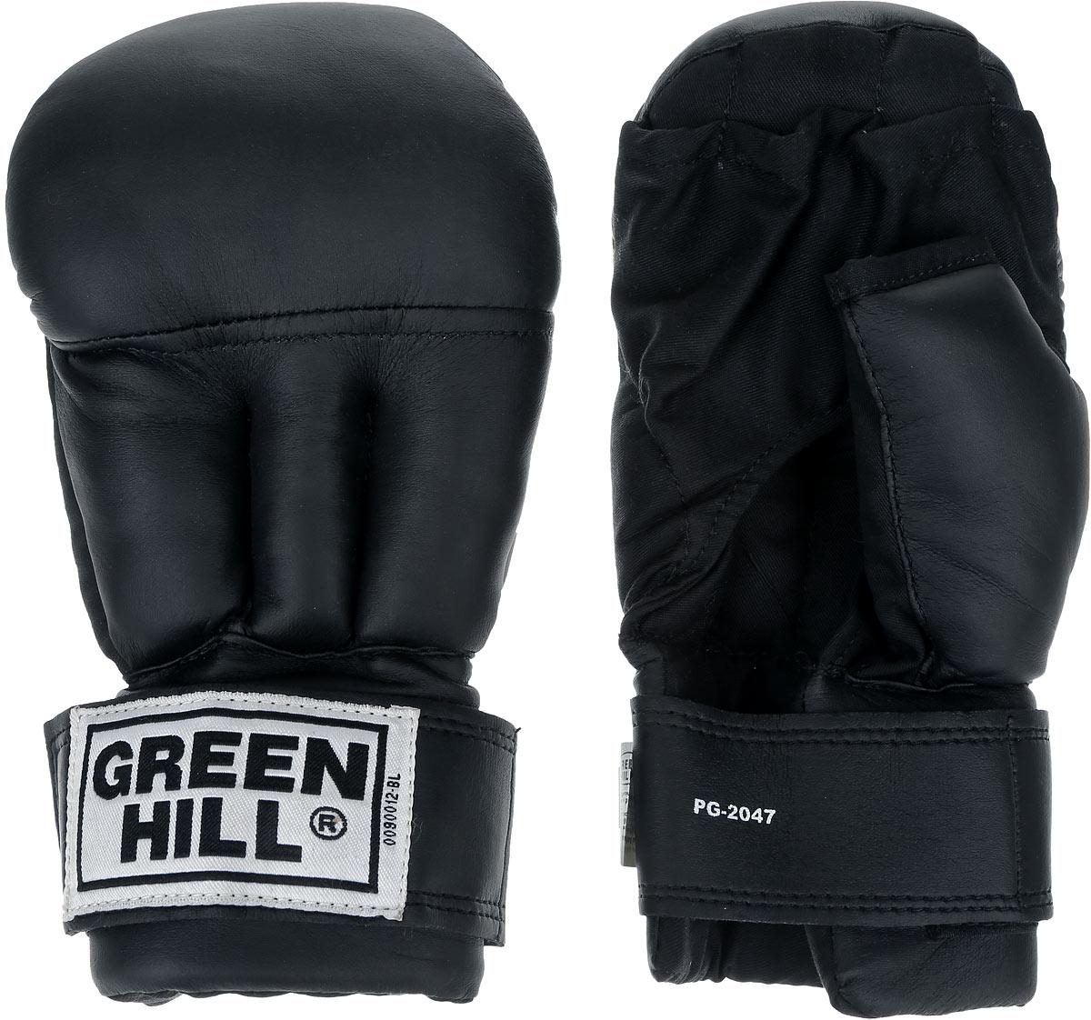 Перчатки для рукопашного боя Green Hill, цвет: черный. Размер XL. PG-2047PG-2047Перчатки для рукопашного боя Green Hill произведены из высококачественной искусственной кожи. Подойдут для занятий смешанными единоборствами. Конструкция предусматривает открытые пальцы - необходимый атрибут для проведения захватов. Манжеты на липучках позволяют быстро снимать и надевать перчатки без каких-либо неудобств.