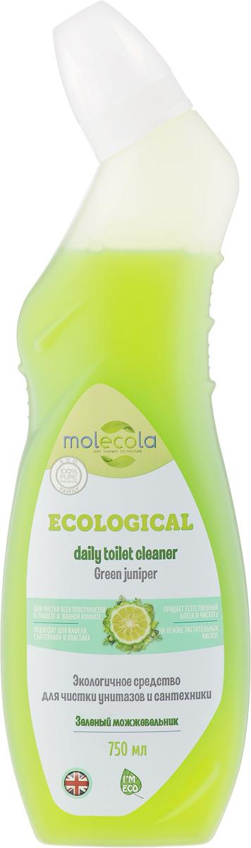 Средство для ванной и туалета Molecola Green Juniper, зеленый можжевельник, 750 мл9141Molecola Green Juniper - это эффективное экологичное средство для чистки унитазов и сантехники с ароматом можжевельника и зеленого бергамота. Средство легко очищает и удаляет известковый налет, безопасно для кожи и дыхательных путей. Рекомендовано людям, имеющим аллергическую реакцию на средства бытовой химии. Новая формула на основе безопасных растительных ингредиентов обеспечивает высокую эффективность и экологичность использования. Товар сертифицирован.