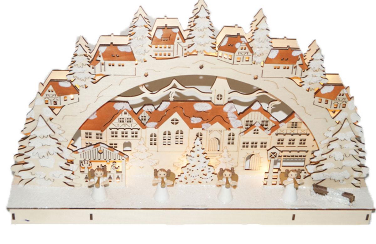 Декорация рождественская Svetlitsa Городок, цвет: коричневый. 15-10215-102Декорация рождественский городок выс/дл. 28х45,5 см, 11 LED ламп