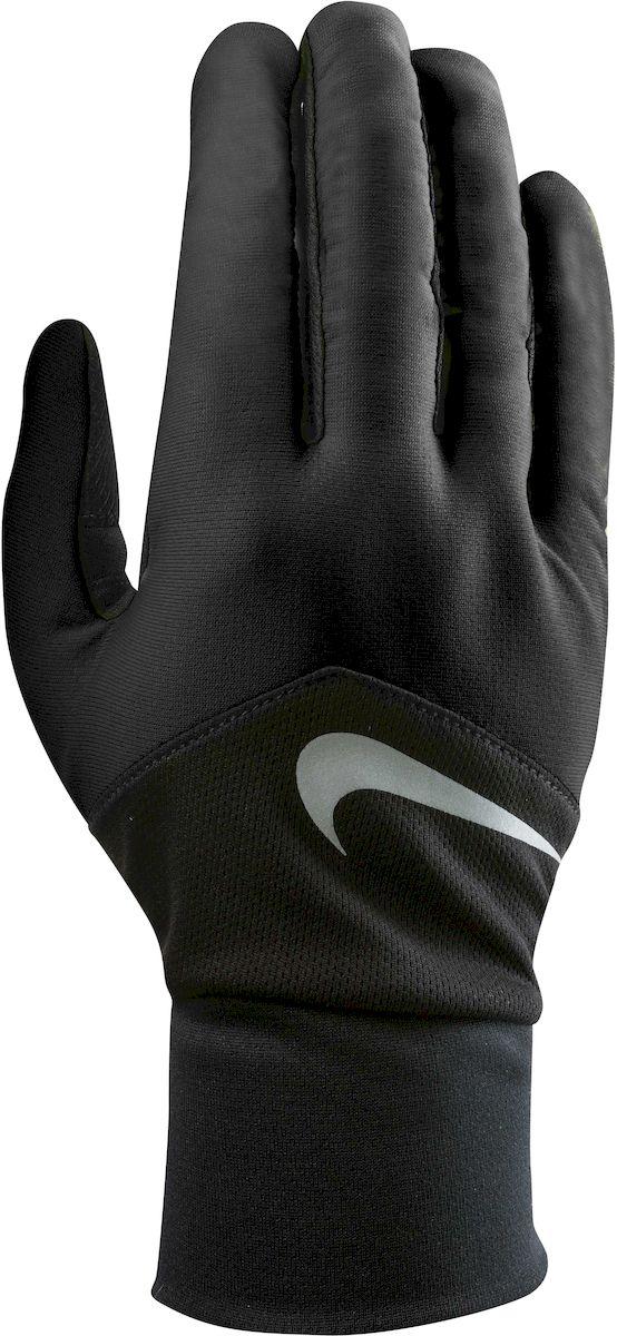 Перчатки для бега мужские Nike Dri-Fit Tempo, цвет: черный, серебристый. Размер SWRA523700 - Материал с технологией Dri-FIT обеспечивает быстрое впитывание влаги и ее испарение, что позволяет оставаться коже сухой. - Сетчатые вставки с Dri-Fit эффектом обеспечивают оптимальную воздухопроницаемость. - Кончик указательного и большого пальца выполнены из материала совместимого с сенсорным дисплеем. - Эргономичная форма, повторяющая очертания руки в расслабленном состоянии. - Силиконовые вставки на внутренней части перчаток повышают сцепление. - Светоотражающий логотип обеспечивает визуальную узнаваемость бренда и повышает видимость при слабом освещении.