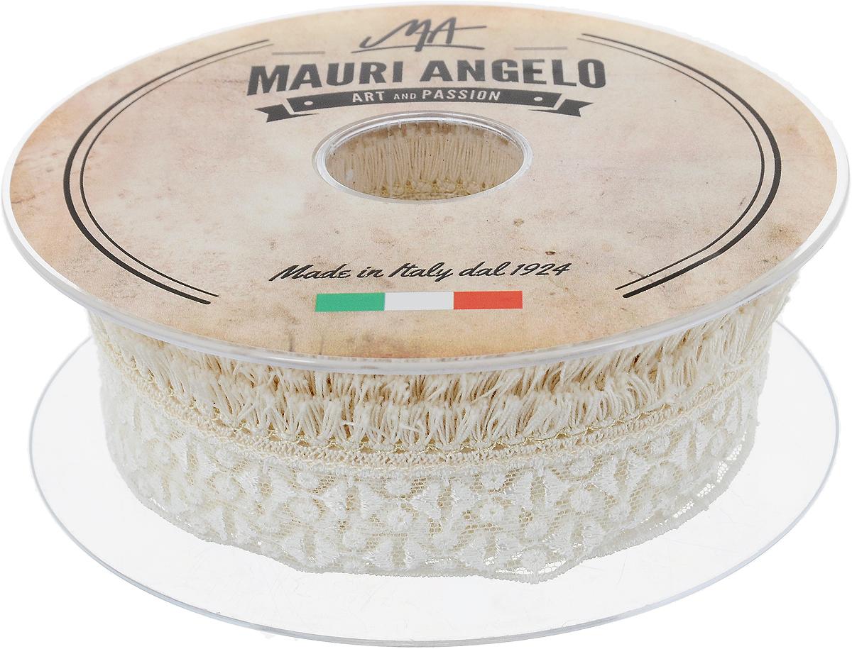 Лента кружевная Mauri Angelo, цвет: белый, бежевый, 2 см х 10 м. MR897Z169/EKT002AДекоративная кружевная лента Mauri Angelo выполнена из высококачественных материалов. Кружево применяется для отделки одежды, постельного белья, а также в оформлении интерьера, декоративных панно, скатертей, тюлей, покрывал. Главные особенности кружева - воздушность, тонкость, эластичность, узорность.Такая лента станет незаменимым элементом в создании рукотворного шедевра.