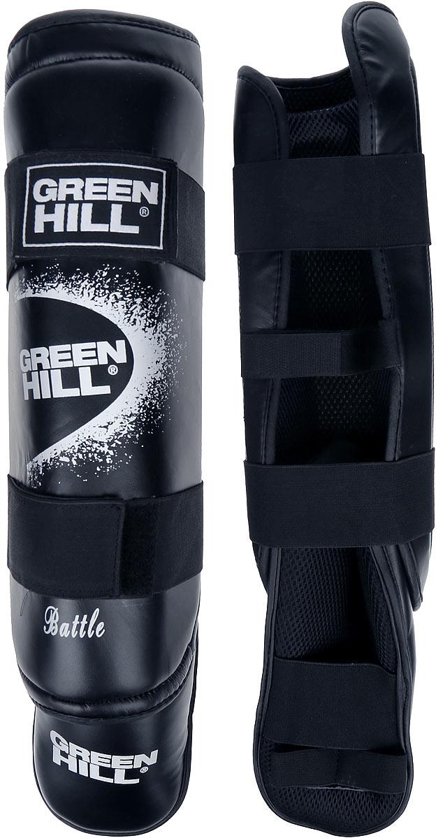 Защита голени и стопы Green Hill Battle, цвет: черный, белый. Размер XL. SIB-0014SIB-0014Защита голени и стопы Green Hill Battle с наполнителем, выполненным из вспененного полимера, необходима при занятиях спортом для защиты пальцев и суставов от вывихов, ушибов и прочих повреждений. Накладки выполнены из высококачественной искусственной кожи. Подкладка изготовлена из хлопка, внутренняя сторона выполнена в виде сетки. Они надежно фиксируются за счет ленты и липучек. При желании защиту голени можно отцепить от защиты стопы. Длина голени: 37 см. Ширина голени: 15 см. Длина стопы: 25 см. Ширина стопы: 13 см.