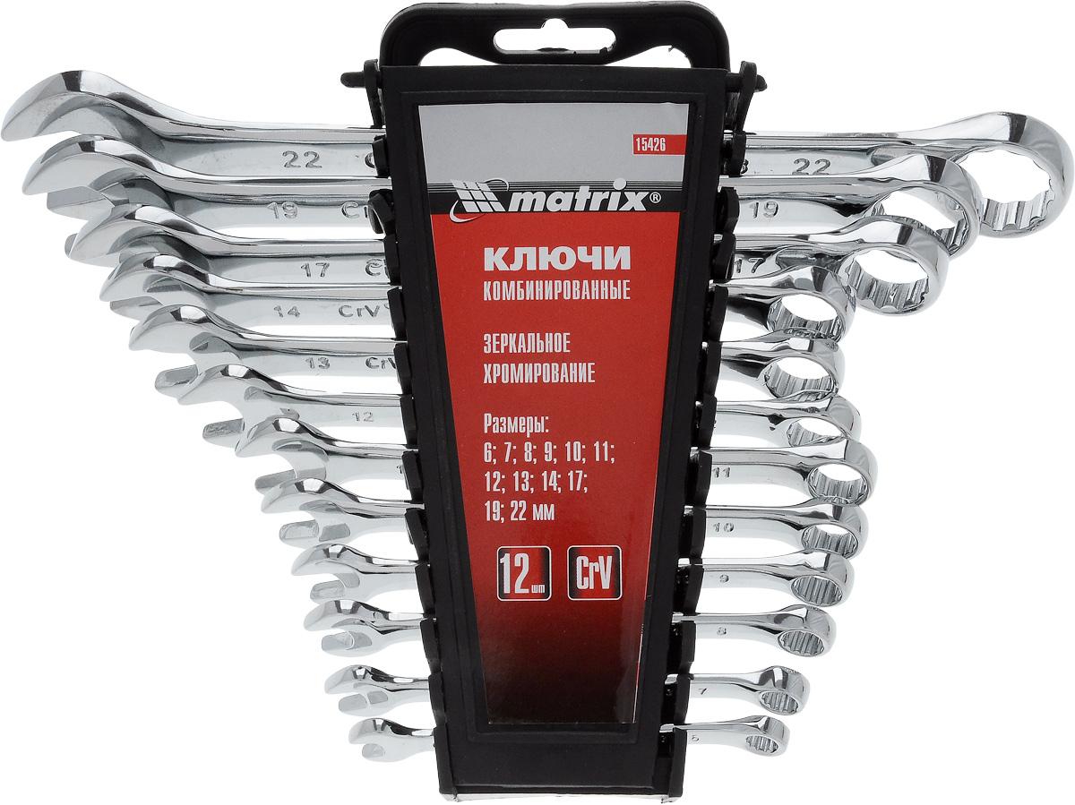 Набор ключей комбинированных Matrix, полированный хром, 12 шт15426Набор Matrix предназначен для монтажа демонтажа резьбовых соединений. Ключи изготовлены из хромванадиевой стали. Твердость материала рабочей части ключа 45 HRc (требования ГОСТ - 45-51 HRc). Ключи имеют полированное хромоникелевое покрытие. Поставляются в комплекте с пластмассовым держателем. Профиль кольцевого зева имеет 12 граней, что увеличивает площадь соприкосновения рабочих поверхностей и снижает риск деформации граней крепежа при монтаже. Угол наклона кольцевого зева относительно плоскости ключа в 15° делает монтаж более удобным. В состав входят ключи на 6 мм, 7 мм, 8 мм, 9 мм, 10 мм, 11 мм, 12 мм, 13 мм, 14 мм, 17 мм, 19 мм, 22 мм.
