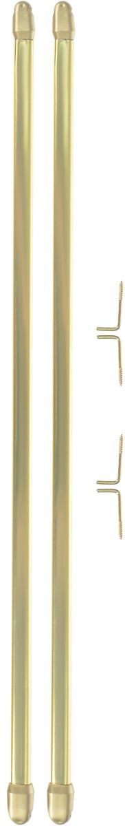 Штанга однорядная Эскар, металлическая, телескопическая, цвет: латунь, длина 40-70 см, 2 шт9280000040Витражная штанга Эскар - это не только аксессуар для штор, но и элемент декора. Изделие выполнено из металла. Держатели штанг вкручиваются в раму в предварительно рассверленное отверстие. В комплект входят: 2 штанги, 4 крючка для крепления. Оригинальная и стильная штанга дополнит интерьер любой комнаты. Длина карниза: 40-70 см. Штанга однорядная Эскар, металлическая, телескопическая, цвет: латунь, длина 40-70 см, 2 шт