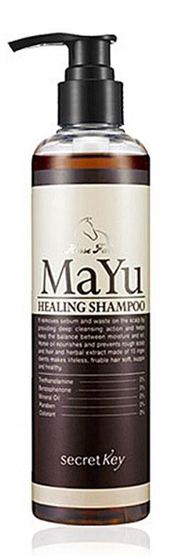 Secret Key Шампунь MAYU Healing лечебный, 250 млS83Шампунь Secret Key MAYU Healing балансирует жирность (особенно хорошо подходит для тех, у кого жирные корни). Избавляет от перхоти, устраняет зуд и проблемы кожи головы, способствует росту и укреплению волос. В состав входит очищенный конский жир, экстракт грецкого ореха, экстракты персиковых листьев, экстракт черной сои и китайской дерезы (lycium chinese) вторая основная функция шампуня - поддержание водного баланса кожи головы и улучшение роста волос. Этому способствуют 11 трав, входящих в состав шампуня. Укрепляются кутикулы волос и улучшается их структура.