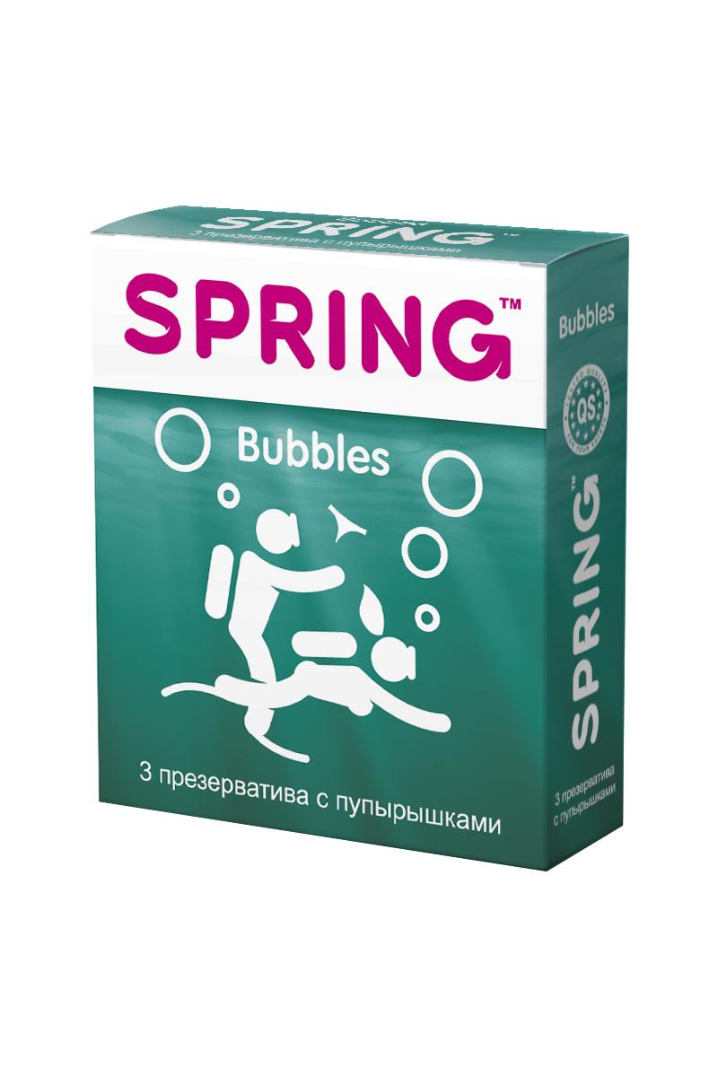 Презервативы SPRING™ Bubbles,с пупырышками, 3 шт.172Презервативы классическои? формы, с силиконовой смазкой, с пупырышками для дополнительнои? стимуляции партнерши. Более яркие ощущения от проникновения, большее наслаждение во время интимнои? близости и более яркие оргастические ощущения.