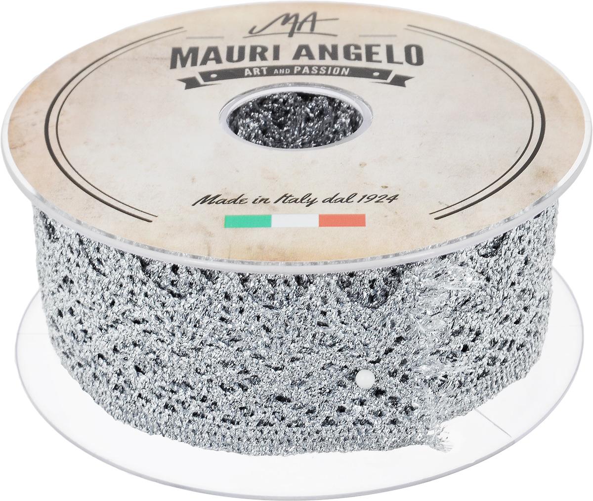 Лента кружевная Mauri Angelo, цвет: серебристый, 4,4 см х 10 мMR3125/11Декоративная кружевная лента Mauri Angelo выполнена из высококачественных материалов. Кружево применяется для отделки одежды, постельного белья, а также в оформлении интерьера, декоративных панно, скатертей, тюлей, покрывал. Главные особенности кружева - воздушность, тонкость, эластичность, узорность. Такая лента станет незаменимым элементом в создании рукотворного шедевра.