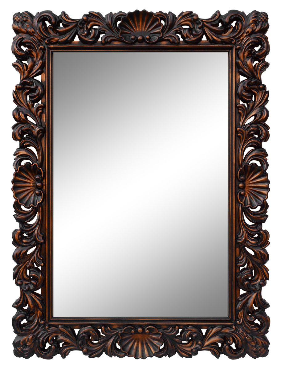 Зеркало VezzoLLi Рококо, цвет: коричневый, 117 х 87,5 смFS-91909С обратной стороны зеркало снабжено тремя металлическими подвесами для возможности разместить его и вертикально и горизонтально.