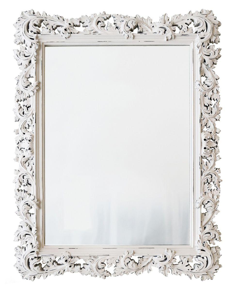 Зеркало VezzoLLi Алиана, цвет: белый, 115 х 88 см15-03Зеркало выкрашено в стиле Шебби Шик - с потертостями. Ручная работа. С обратной стороны зеркало снабжено тремя металлическими подвесами для возможности разместить его и вертикально и горизонтально.