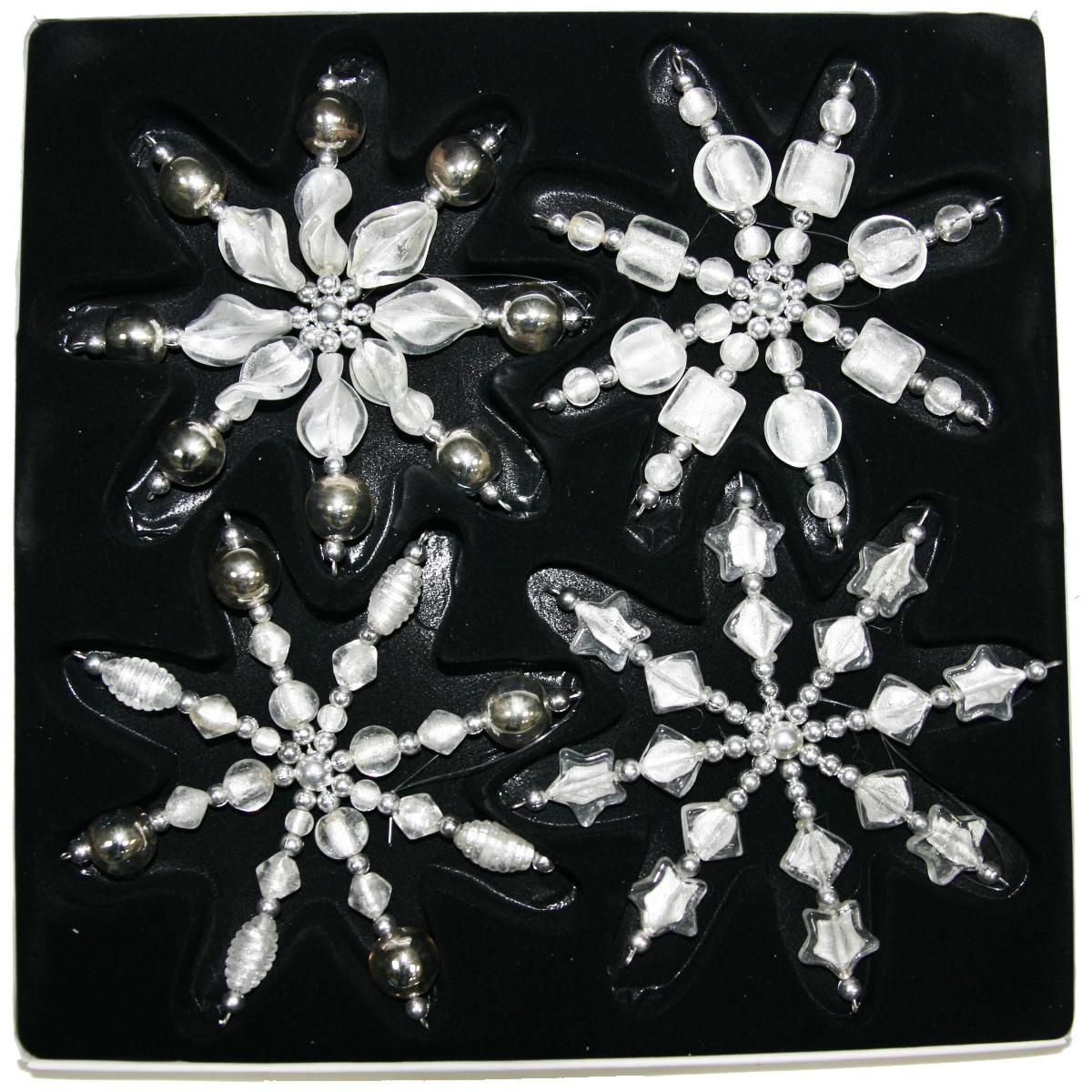Подвесы декоративные Lovemark Снежинки, цвет: серебряный, 4 шт, 16 см4528Подвесы СНЕЖИНКИ 16см (набор 4шт.), цвет прозрачно-серебряный (стекло) Lovemark