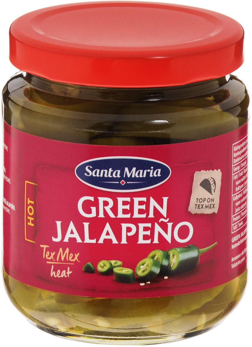 Santa Maria зеленый перец халапеньо, 215 г3840Ломтики консервированного зеленого перца халапеньо имеют ярко выраженный острый вкус. Перец халапеньо используется для приготовления закусок, салатов, пиццы, соусов к мясу и рыбе. Уважаемые клиенты! Обращаем ваше внимание на то, что упаковка может иметь несколько видов дизайна. Поставка осуществляется в зависимости от наличия на складе.