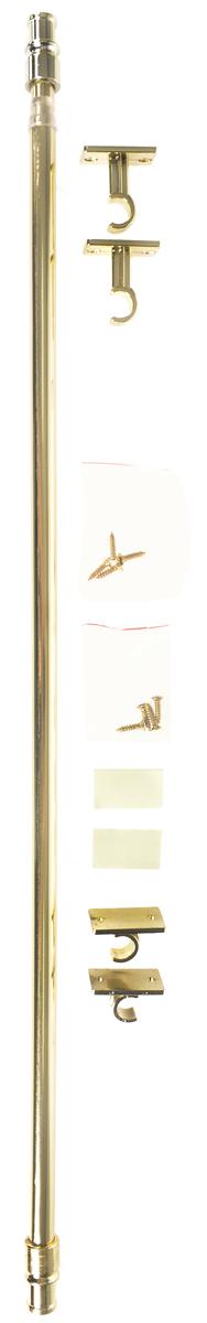 Карниз однорядный Эскар Калифорния, металлический, телескопический, цвет: латунь, диаметр 12 мм, длина 55-85 см9080012085Круглый карниз Эскар Калифорния выполнен из металла. Подходит для использования одного вида занавесей. Поверхность гладкая. Крепление производится на раму, при помощи держателей на двухсторонний скотч или саморезы. В комплект входят: карниз, 2 коротких кронштейна, 2 длинных кронштейна, 8 саморезов, 4 полоски двухстороннего скотча. Такой карниз будет органично смотреться в любом интерьере. Диаметр карниза: 12 мм.