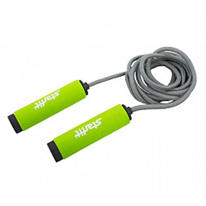 Скакалка Starfit RP-105, цвет: зеленый, серый, длина 3 мSF 0085Скакалка Star Fit RP-105 предназначена для укрепления мышц рук и ног, а также для общей тренировки. Благодаря особому вспененному материалу ручек скакалку приятно держать в руках. Трос выполнен из ткани, что полезно для тех, кто учится прыгать на скакалке, потому что минимизируется риск нанесения травмы.