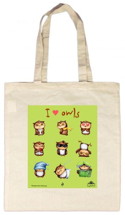Сумка I Love Owls, 35 х 39 смIR-F1-WСмешные совы теперь и на сумках! Легкая, удобная сумка из плотной ткани с цветным рисунком любимых персонажей станет отличным спутником на каждый день. Длина ручки позволяет носить ее на плече. Смешные надписи и авторские рисунки сов от Инги Пальцер будут радовать вас каждый день. А также станут отличным подарком для друзей.
