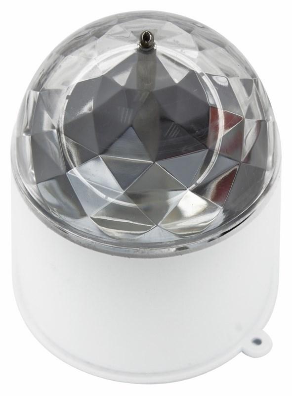 Диско-лампа светодиодная Neon-Night, в компактном корпусе, 220ВC0044108Светодиодная диско-лампа представляет собой устройство для создания эффекта светомузыки. Выполена из пластикового корпуса в виде цилиндра с прозрачным преломляющим куполом сверху. Специальные отверстия в корпусе позволяют смонтировать диско-лампу на стену или потолок. Поставьте такую диско-лампу в любое удобное для вас место в помещении, дома или на даче и включите ее в сеть 220В. Праздничное настроение для Вашей вечеринки обеспечено!