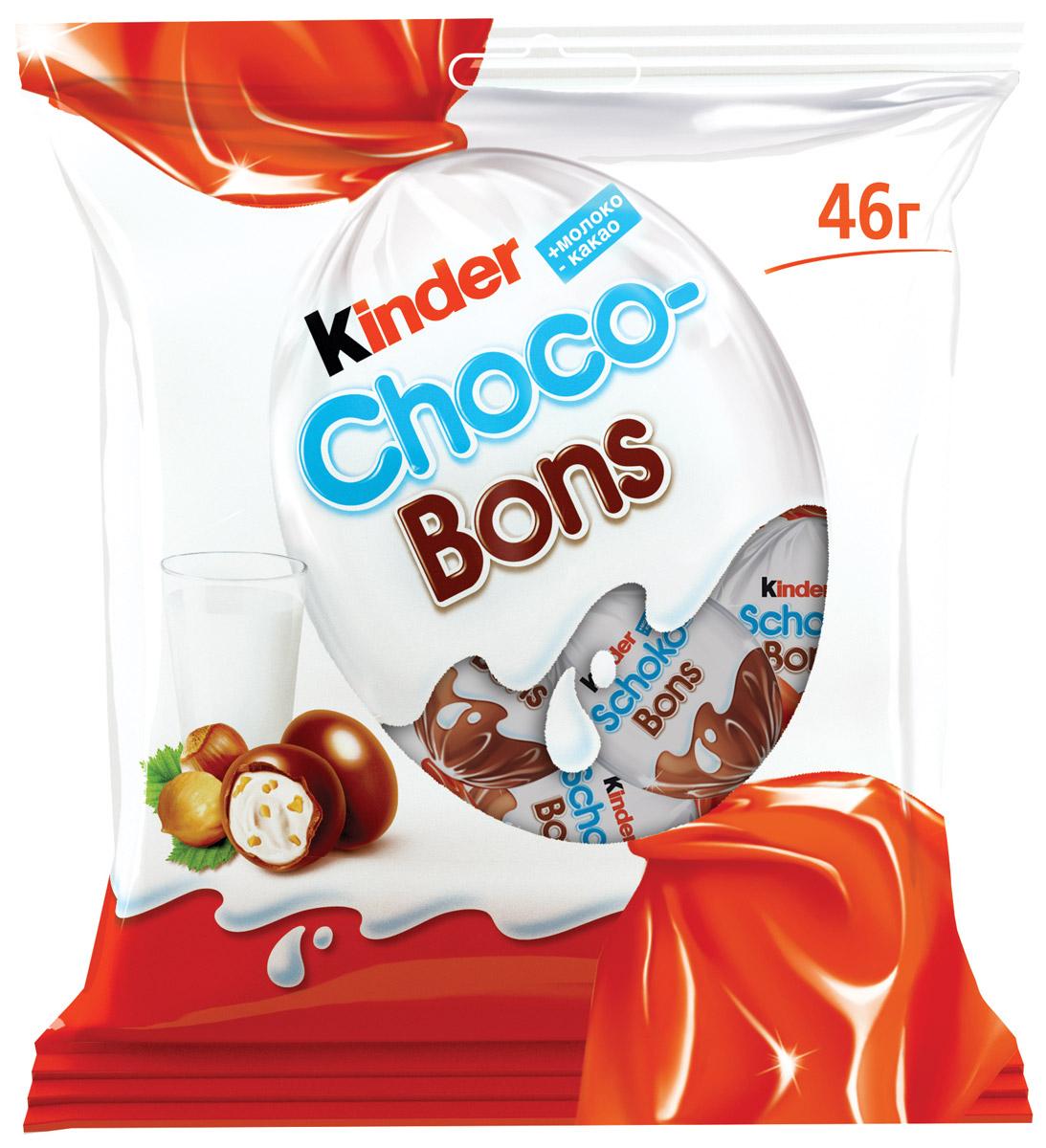 Kinder Choco Bons конфеты из молочного шоколада с молочно-ореховой начинкой, 46 г 77121209/77111794/77111238